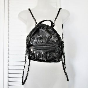 "Black sequin back pack 9""X 8"""